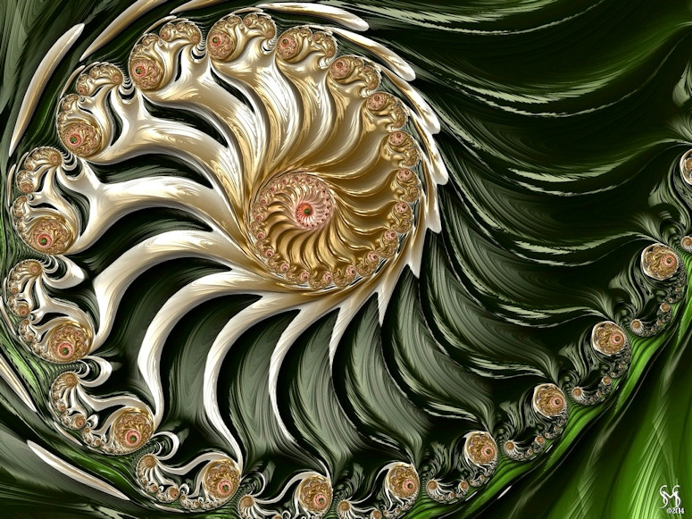 The Emerald Queen's Nautilus - Conceptual Fractal Art by Susan Maxwell Schmidt